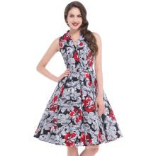 Bello Poque Stock Sleeveless Sleeveless Lapel Collar 50s Retro Vintage Floral Print Cotton Dress BP000003-3