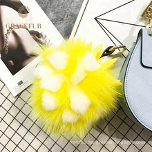 Excellent quality puff ball keychain fox tail fur accessory