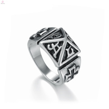 Vintage Statement Stainless Steel Stamp Cross Pyramid Rings