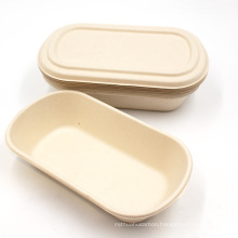 Natural Disposable Biodegradable Sugarcane Bagasse Food Container With Lid For Travel, Outdoor