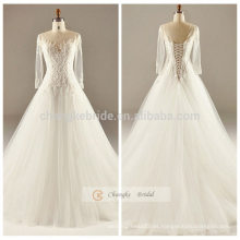 Blanco encaje Appliqued A línea de vestido de novia de manga larga trasera hasta el vestido de novia
