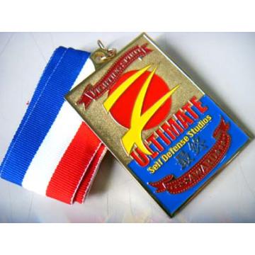Medalla de esmalte suave de aleación de zinc rectangular personalizada con cinta