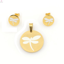Heißer Verkauf Libelle Schmuck Sets, 316l Edelstahl Ohrring und Medaillon Sets für Frauen