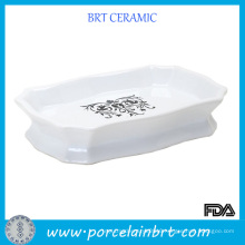 White Custom Design Ceramic Soap Dish