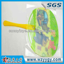 Round hand fan for promotion, PVC printed hand fan