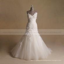 Graceful Mermaid Sweet Heart Pleated Bottom ORG Wedding Dress With Handmade Flowers