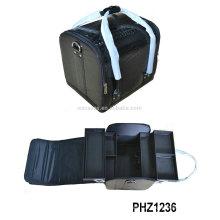 Популярные черная косметическая сумка ПВХ с крокодиловой шаблон и 4 съемных лотков внутри продавать в Европе и США