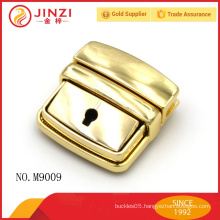 High end bright gold color luggage tag,lock and key handbags