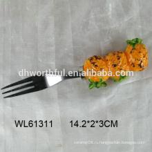 2016 последний стиль керамической формы ананаса и вилки из нержавеющей стали