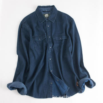 남성용 긴팔 IndigoThick Warmly Regular Cotton Shirt