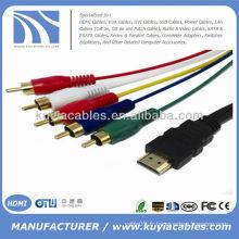 Câble HDMI audio HDMI de qualité supérieure à 5RCA Câble AV audio 5 pieds 1.5M