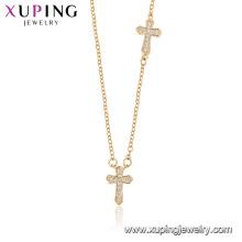 44528 xuping gros bijoux de mode religion collier 18k or couleur croix collier avec de la pierre
