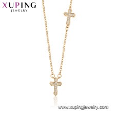 44528 xuping wholesale fashion jewelry religion necklace 18k gold color cross necklace with stone