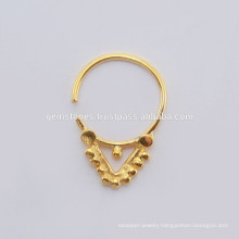 Handmade 925 Sterling Silver Nose Ring Jewelry, Wholesale Gold Plated Septum Piercing Body Jewelry Suppliers