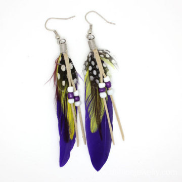 Cheap Bohemian Ethnic Feather Earrings Beaded Hook Earrings