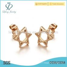 New simple star earring design,rose gold earring