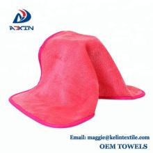 Personalizado 100% poliéster negro removedor de maquillaje paño / maquillaje eliminación toalla