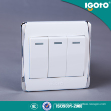 Igoto British Standard Electrical Light Wall Switches 3 Gang 1 Way