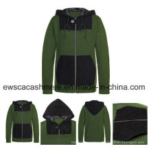 Men′s 100% Cashmere Knitted Coat with Chamois