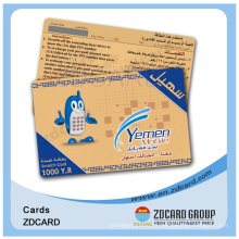 Carte de recharge de téléphone / cellule à gratter en carton