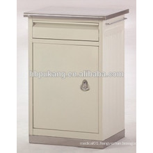 bedside cabinet with stainless steel top and base