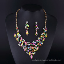 Moda prata banhado colar de senhora de cristal de diamante colorido