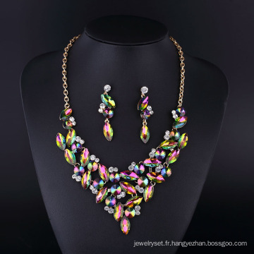 Collier en argent plaqué multicolore en cristal de diamant