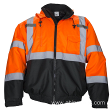 Hi Vis Bomber Safety Work Jacket Coat Hood Workwear