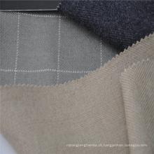 Tecido de lã de seda cinza xadrez misturado para casaco de inverno