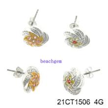 Bijoux - CZ argent boucles d'oreilles (21CT 1506)