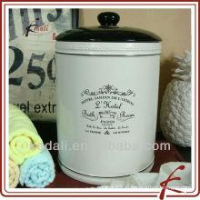 Мини керамическая круглая корзина с крышкой для комнаты