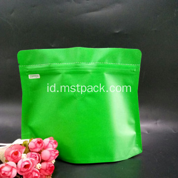 Green Stand Up Pouches Dengan Degassing Valve