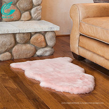decoración para el hogar alfombra de piel de cordero de piel de oveja rosa claro