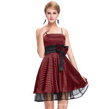 Starzz 2016 New Design Sexy Spaghetti Straps Polka Dots Satin Short Black Red Cheap Cocktail Dress ST000087-1