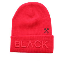 Red Puff Embroidery Winter Beanie Hats for Wholesales (GK16-Q0121)