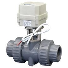 Vanne à bille en PVC à 2 voies à soupape à bille électrique à 2 voies Valve à eau motorisée à eau avec CE (A100-T32-P2-C)