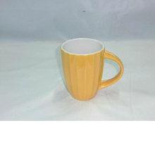 9oz tiras verticales taza de cerámica con cuchara para BS120423B