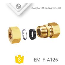 EM-F-A126 latón cobre rápido hembra hilo conector de doble junta