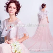 2017 Andar de comprimento elegante rosa cisne seda formal vestidos de noite Pink Party Evening Dress Lady Dress da hospedeira