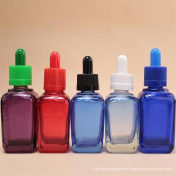Cuadrado de botellas de vidrio de colores para el aceite esencial, jarra de cosmética