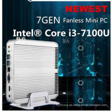 Mejor 7ª generación Fanless Mini PC Core I5 ​​7200u I3 7100u Intel HD Graphics620 14 Nm Wind10 Barebone 4k HTPC Mini Desktop