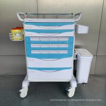 Carro de medicina hospitalaria ABS de acero conveniente