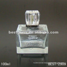 100ml square brand perfume glass bottle with sprayer and cap