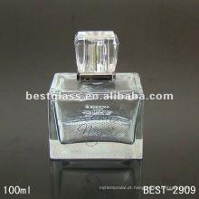 Frasco de vidro do perfume do tipo do quadrado 100ml com pulverizador e tampão