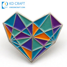 Manufacture bulk metal chrome silver plated stained glass brooch pin rainbow enamel love custom heart shaped lapel pin badge