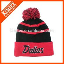 Wholesale winter hip hop custom acrylic hats beanie with top ball