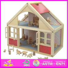 2014 New Kids Wooden Doll House Toy, Popular Lovely Children Wooden Doll House, Beartiful Princess DIY Wooden Doll House W06A039