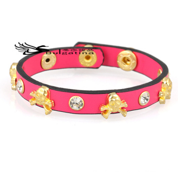 Gold-Charme-Leder-Armbänder für Mann, Mens-Leder-Armbänder Großhandelspreis 2014 Neue Ankunft