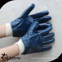 SRSAFETY синие нитриловые покрытые рабочие перчатки CE