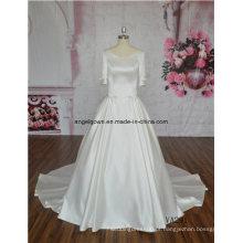 Cetim bonito em torno do pescoço para trás uma linha correias vestido de noiva